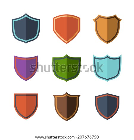 Isolated and empty crests flat design icons in various colors over white background