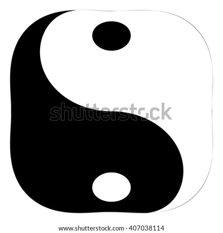 "Isolated and square black and white ""Yin Yang"" symbol of harmony and balance in Chinese philosophy on a white background - Eps10 Vector graphics and illustration - stock vector"