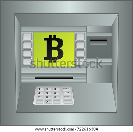 isolated atm panel with bitcoin symbol