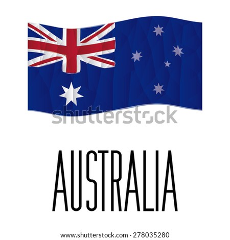 Isolated australian flag with text on a white background. Low Poly vector illustration - stock vector