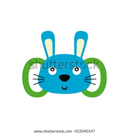 Isolated baby toy with a rabbit shape on a white background
