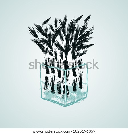 Isolated Bamboo Plant Vase Water Vector Stock Vector 1025196859