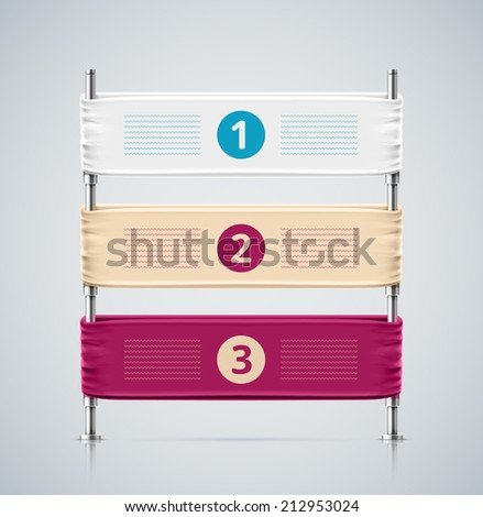 Isolated banner, three steps, eps 10 - stock vector