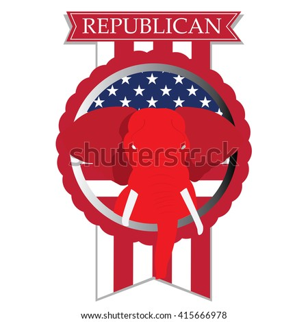 Isolated banner with the american flag, text and the republican symbol