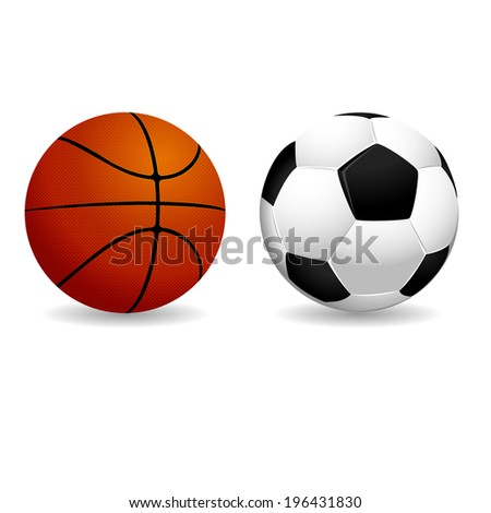 isolated basketball and soccer balls. Vector illustrations