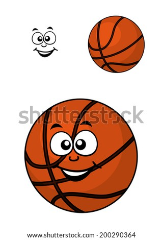 Isolated basketball ball logo in cartoon style with a happy face for sports design, isolated on white - stock vector