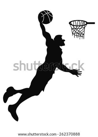 isolated Basketball player Slam Dunk - stock vector