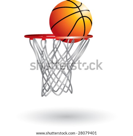 isolated basketball shot - stock vector