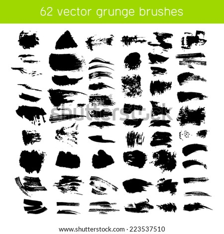 isolated big vector black ink brushes and grunge strokes - stock vector