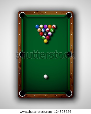 Isolated billiard table, top view. Eps 10 - stock vector