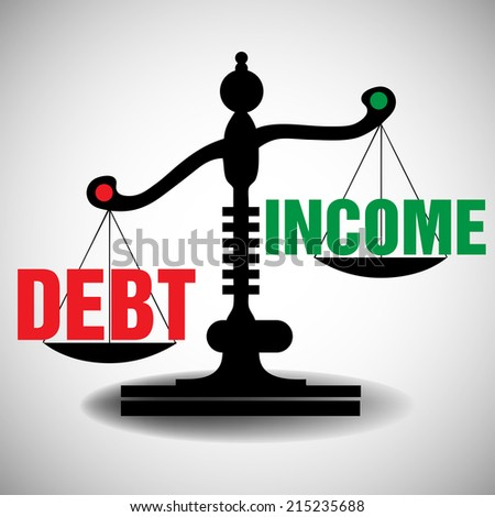 Isolated black scale balancing the debt and the income. Debt and income theme - stock vector