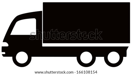 isolated black truck icon - cargo symbol - stock vector