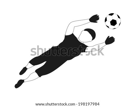 isolated black white goalkeeper safe vector illustration