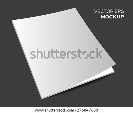 Isolated blank brochure or magazine mockup on dark background. Vector EPS 10 illustration. - stock vector