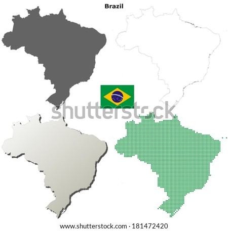 Isolated blank contour maps of Brazil - vector version - stock vector