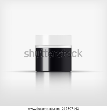 Isolated blank cosmetic black and white bottle with silver band on white background (vector)