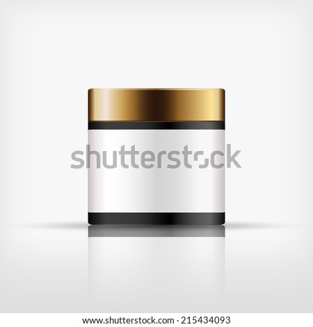 Isolated blank cosmetic black bottle with gold cap on white background (vector)