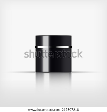 Isolated blank cosmetic black bottle with silver band on white background (vector)