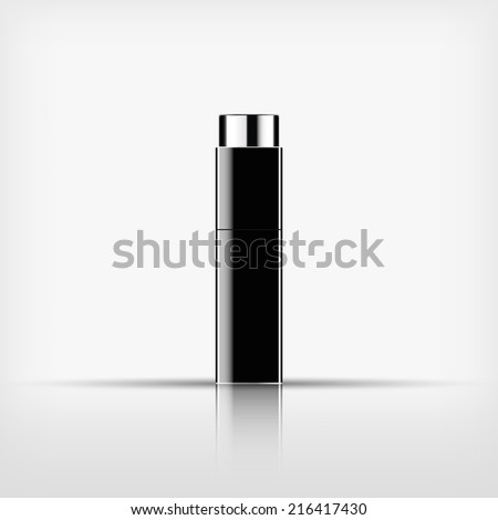 Isolated blank cosmetic black bottle with silver cap on white background (vector)