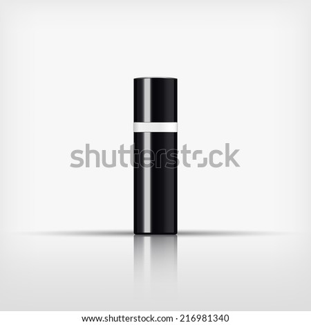 Isolated blank cosmetic black bottle with white band on white background (vector)  - stock vector