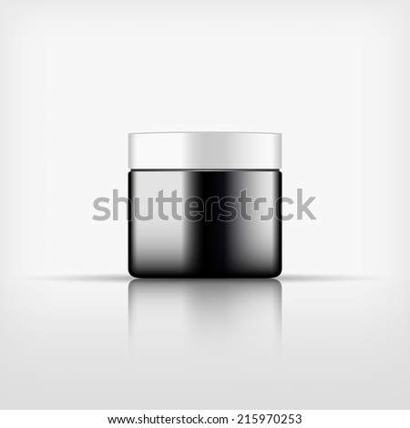 Isolated blank cosmetic black bottle with white cap on white background (vector)