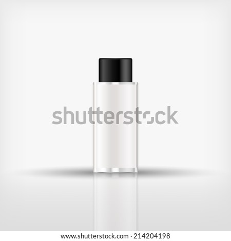 Isolated blank cosmetic bottle with black cap on white background (vector) - stock vector