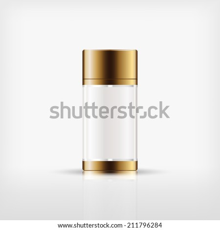 Isolated blank cosmetic bottle with gold cap on white background (vector) - stock vector