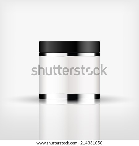 Isolated blank cosmetic silver bottle with black cap on white background (vector)