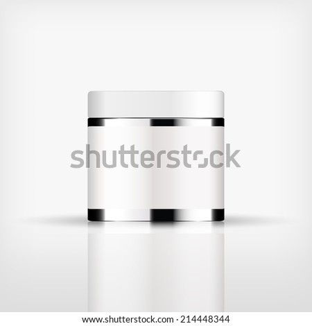 Isolated blank cosmetic silver bottle with white cap on white background (vector)