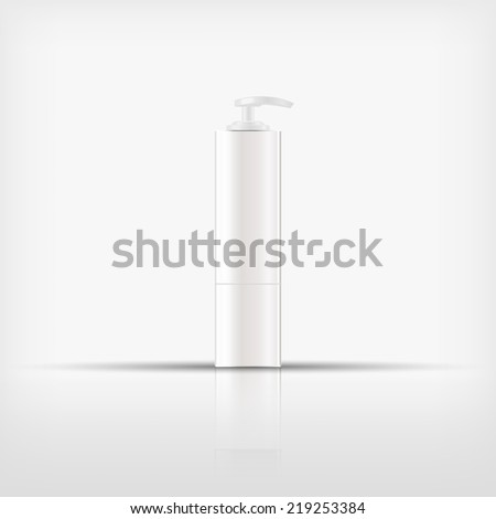 Isolated blank cosmetic white pump top bottle on white background (vector)