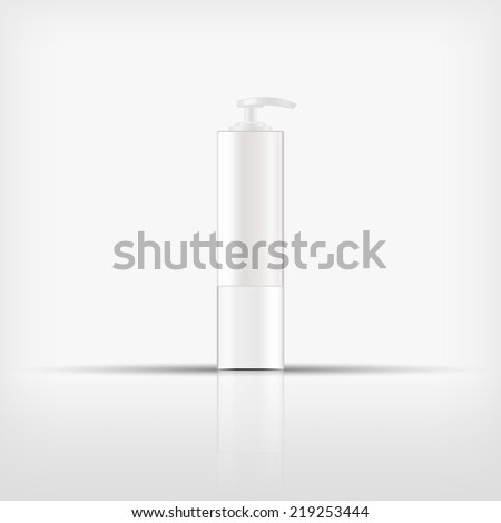Isolated blank cosmetic white pump top bottle on white background (vector)  - stock vector