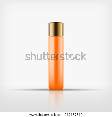 Isolated blank orange cosmetic bottle with gold cap on white background (vector)