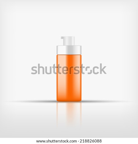 Isolated blank orange cosmetic pump top bottle with white cap on white background (vector)