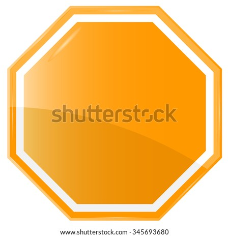 Isolated Blank Orange Sign, Vector - stock vector