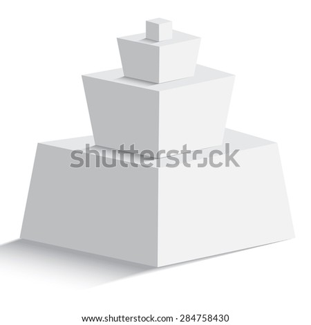 Isolated blank pyramid of  four geomertric objects on white background for any type of design workflow. Text holder, presentation, template and layout - stock vector