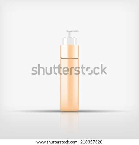 Isolated blank yellow cosmetic with black pump top bottle on white background (vector)