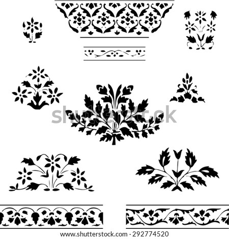 isolated blooming decoration floral flowers white spring ornamental leaf vector growing symbol symmetric summer folk decor blossom element drawing card black ethnic gardening illustration bush old