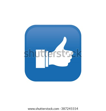 Isolated blue button with a white silhouette of thumbs up icon on a white background