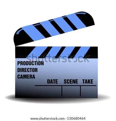 Isolated blue clapboard for movies with various filming related words written on the clapboard - stock vector