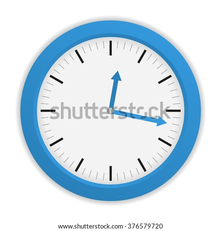Isolated blue clock on white background with blue clock hands - stock vector