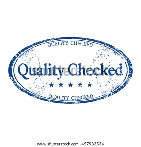 Isolated blue rubber stamp with the text quality checked written inside the stamp - stock vector