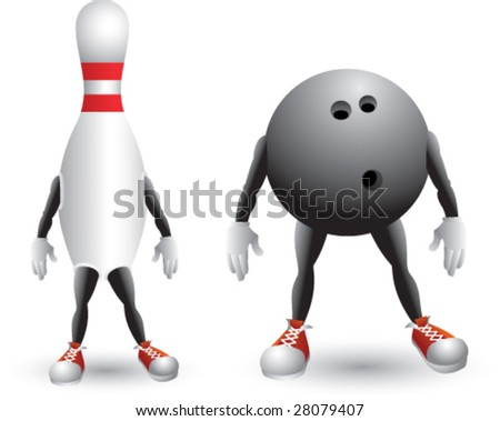 isolated bowling men - stock vector