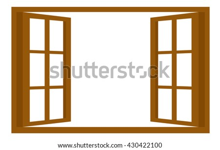 isolated brown opened window vector