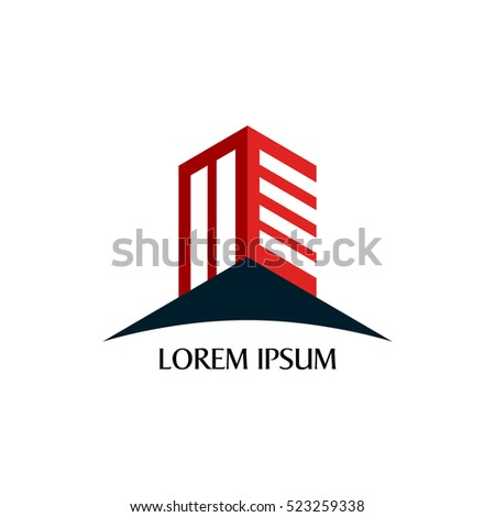 Isolated building logo with text, Vector illustration