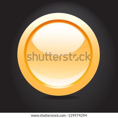 Isolated button on dark background vector. - stock vector