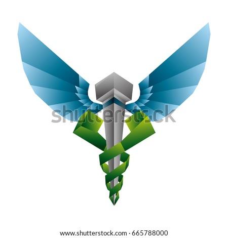 isolated caduceus emblem
