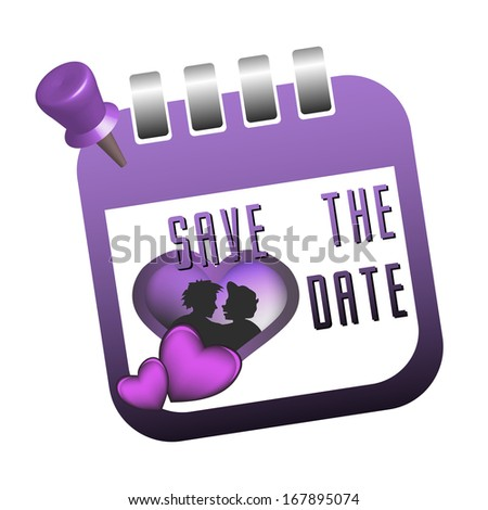 Isolated calendar sheet with a couple inside a heart shape, and the text save the date written with purple letters - stock vector