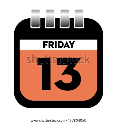 Isolated calendar sheet with the day of Friday thirteen written on the sheet - stock vector