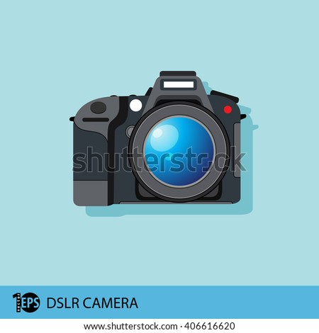 isolated camera dslr, eps10 vector - stock vector