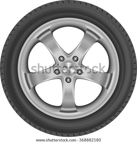 isolated car tire - stock vector